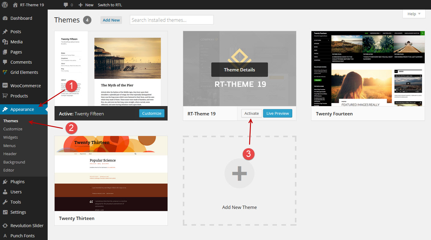 wordpress-theme-activate-manually